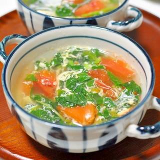 モロヘイヤとトマトの卵スープ