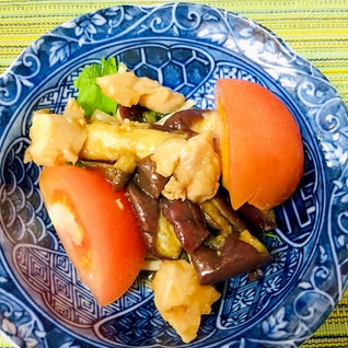 レンジで簡単♪鶏となすと野菜のポン酢和え