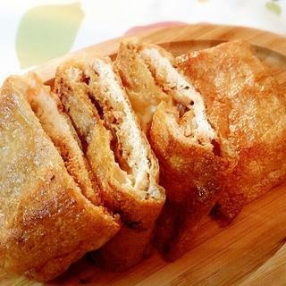 ネギ味噌チーズ♥簡単おつまみ♪栃尾の油揚げ