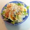 ゆで卵と釜揚げしらすの和風サラダ