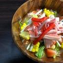 とうもろこしとトマトと水菜とカニカマの冷や汁