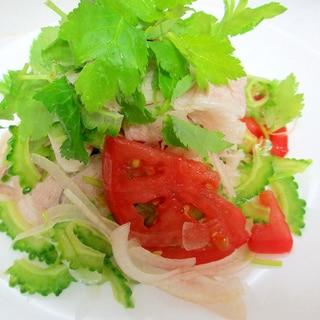 ゴーヤと三つ葉の冷しゃぶサラダわさびポン酢