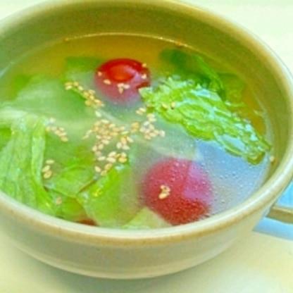 シャキシャキ レタスとトマトの中華スープ