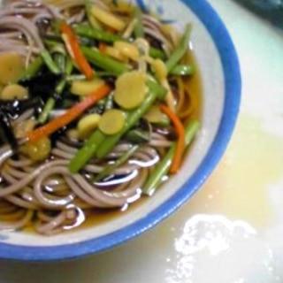 山菜の水煮で★簡単、山菜そば