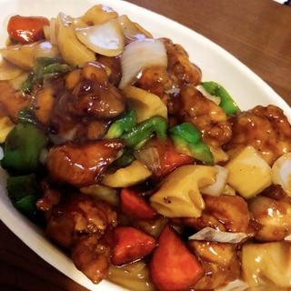 鶏肉とたっぷり野菜の黒酢あんかけ炒め