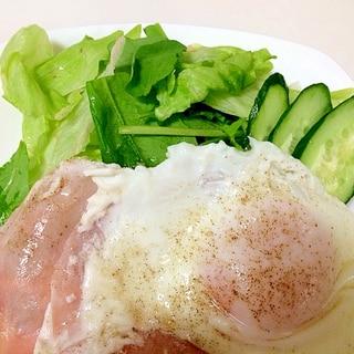 朝食にハムエッグ♪