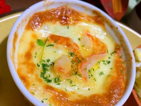 海老とお豆の蕎麦粉豆乳グラタン