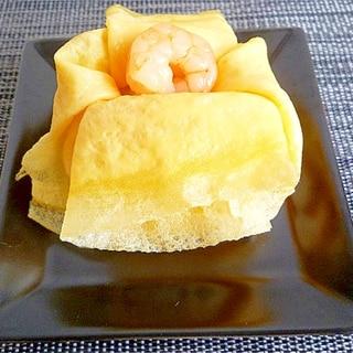破けにくい薄焼き玉子で 茶巾寿司