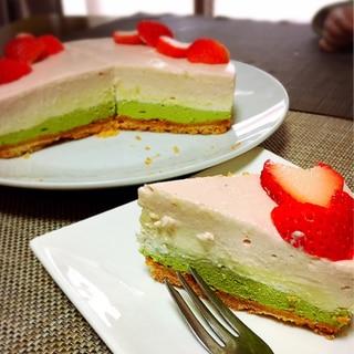 ひな祭り♡さっぱり濃厚三色レアチーズケーキ