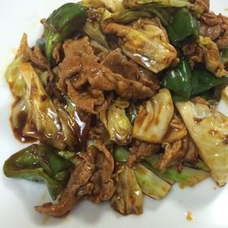 麻婆豆腐の素で豚肉とキャベツとピーマンの四川式炒め