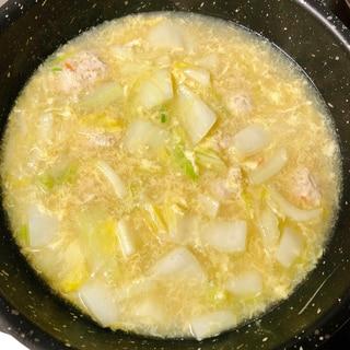 白菜と鶏つみれの卵スープ