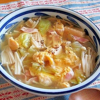レタスがシャキシャキ!えのきとベーコンのスープ♪