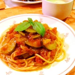 ズッキーニのトマトソース☆冷製パスタ