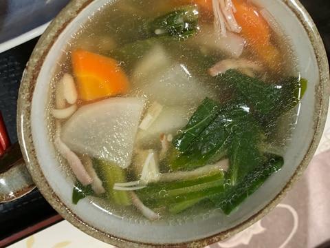 冷蔵庫の残りでスープ