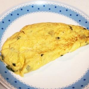 卵2個で!簡単青ねぎ入り和風オムレツ