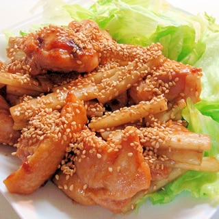 鶏肉と新ごぼう★照り焼き~♪