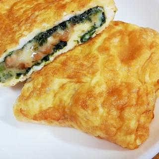 海苔とチーズの納豆卵焼き