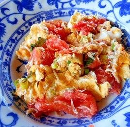 トマトとしらすの卵炒め
