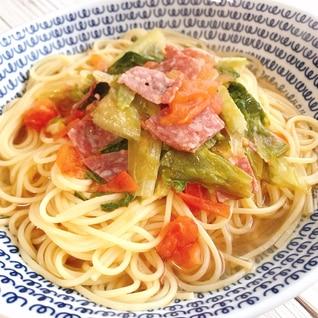 【簡単】サラミとトマトのスープパスタ