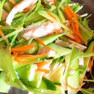 水菜のサラダ★サラダチキンときゅうりとにんじん