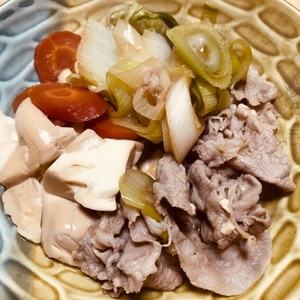 豚の角煮の煮汁で!肉豆腐