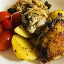 鶏肉とじゃがいもの香り高いバジル焼き