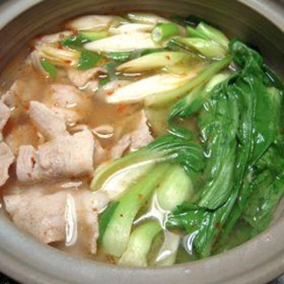 【中華な常夜鍋】豚バラと青梗菜のピリ辛鍋
