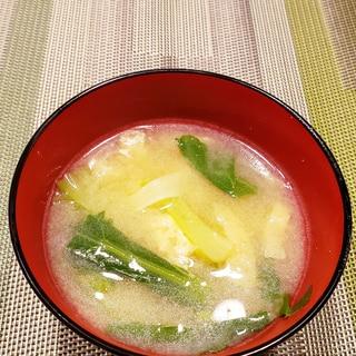 小松菜と油揚げの おみそ汁