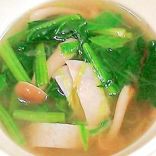 ほうれん草とハムとしめじのスープ