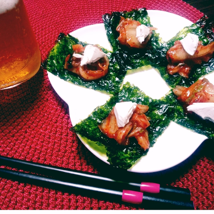 簡単おつまみ♪キムチとチーズの韓国のり乗せ☆