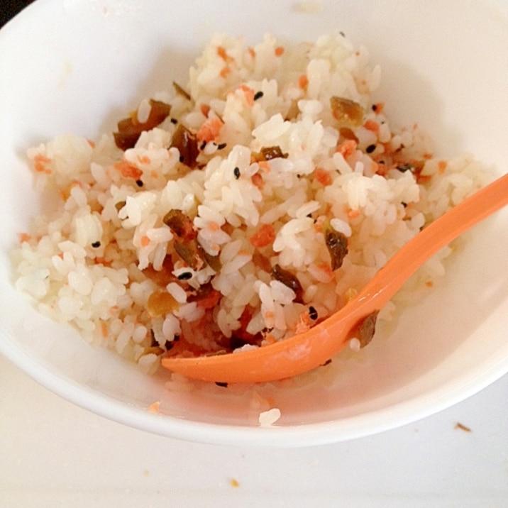 キューちゃんと鮭フレークの混ぜご飯