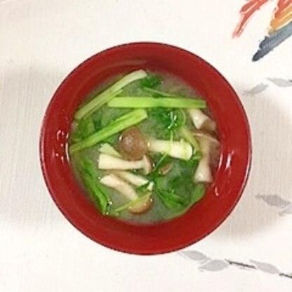 チンゲン菜、しめじ、豆苗のお味噌汁