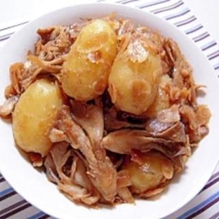 ジャガイモと舞茸の味噌アーモンドいため