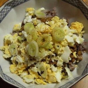 ☆ゆで卵とねぎ入り ピリ辛納豆☆