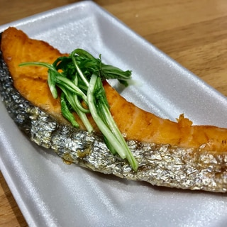 鮭のバター焼き!水菜添え