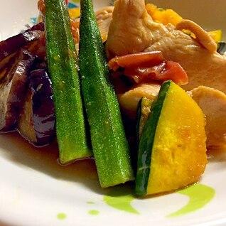 鶏胸肉と夏野菜のマリネ