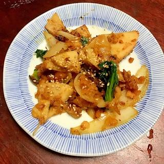 鮭のハラスと筍と小松菜のちゃんちゃん焼き風。