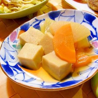 大根と人参と高野豆腐のめんつゆ煮