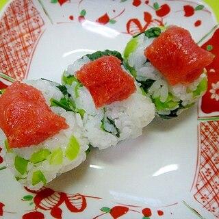 明太子と小松菜の俵寿司
