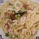 ブロッコリーと鶏挽き肉のしそ梅パスタ