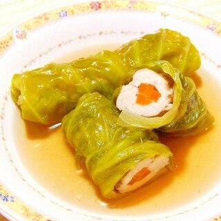 鶏ササミのキャベツロール~コンソメ煮込み