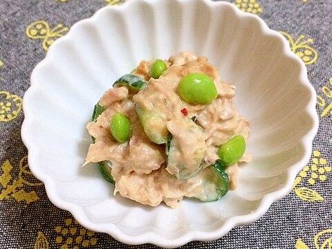きゅうりと枝豆のピリ辛もろみマヨ和え