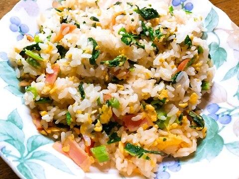 小松菜とベーコンのチャーハン