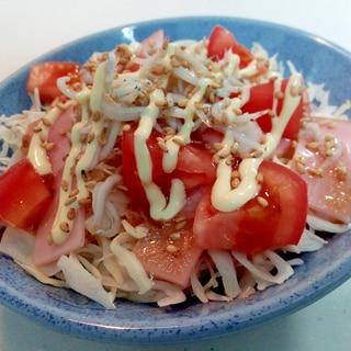 キャベツ・ハム・トマト・釜揚げしらすの和風サラダ