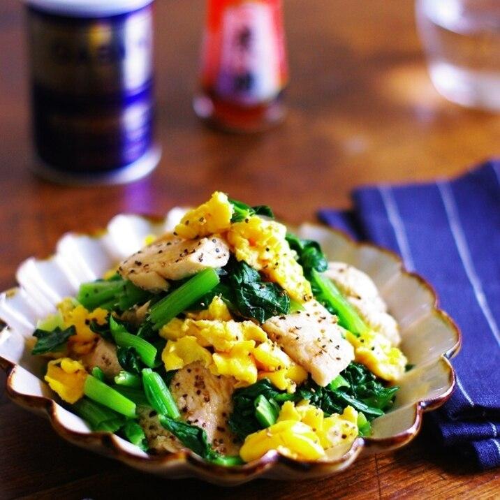 小松菜と卵と鶏胸肉の中華風レンチン和え