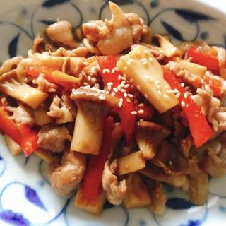 豚肉・エリンギ・パプリカのオイスター炒め