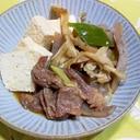 牛筋・葱・玉葱・舞茸・コンニャクですき焼き風