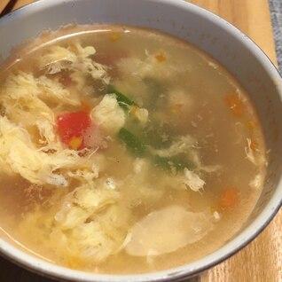 トマト消費にも!オクラとトマトとしらすの中華スープ