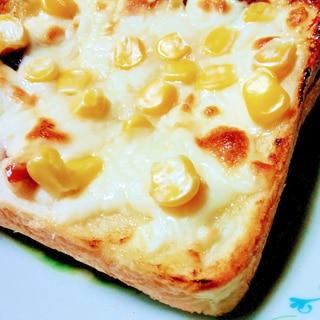 厚切りベーコーンとコーンのWチーズトースト
