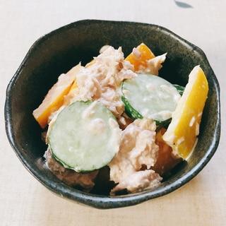 ツナの缶詰と胡瓜とパプリカのサラダ